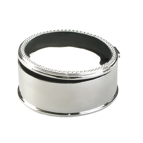 Oval Silver Plating Trinket Velvet Lining Metal Box