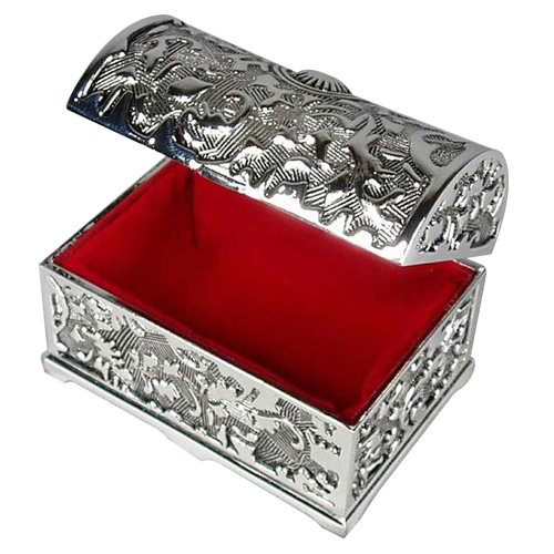 Antique Silver Religious Features Jewelry Storage Box