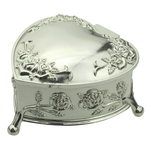 Heart Shape Rose Flower Laser Engraving Jewelry Box with Foot