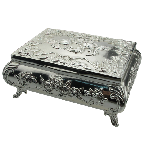 Special Antique Metal 4 Feet Clamshell Jewelry Box