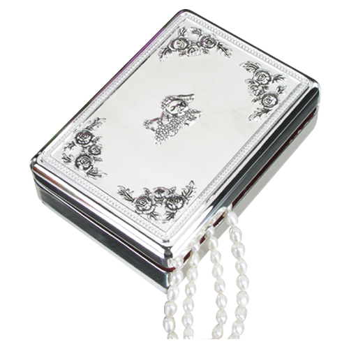 Metal Silver Plated Necklace Jewelry Box