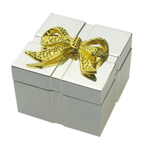 Silver Square Jewelry Box with Golden Bow-Knot