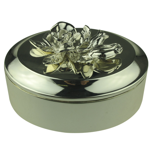 Antique Silver Flower Ellipse Shape Alloy Jewelry Box