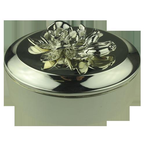 Antique Silver Flower Ellipse Shape Alloy Jewelry Box