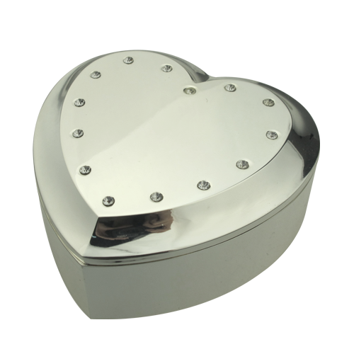 Exquisite Crystal Heart-Shaped Silver Jewelry Box