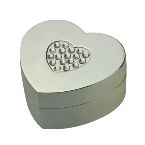 Metal Heart Shaped Trinket Box with Crystals