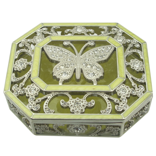 Crystal Flowers and Butterfly Personalized Jewelry Boxes