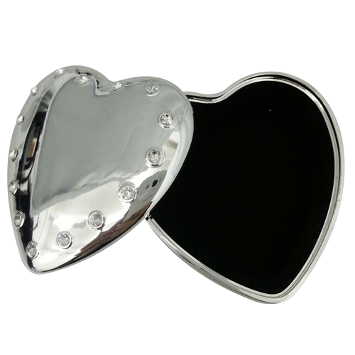 Decorative Crystal Silver Heart Mini Metal Jewelry Box
