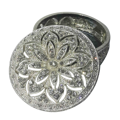 Flower Cutout Diamonds Round Jewelry Display Box