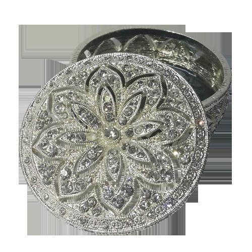 Flower Cutout Diamonds Round Jewelry Display Box