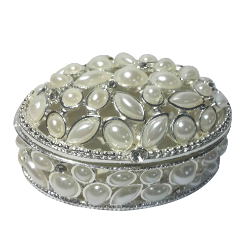 Oval Shaped Ivory Pearls Decorated Jewelry Box