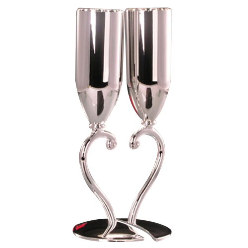 Heart Design Metal Champagne Flutes Silver Toasting Flutes