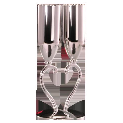 Heart Design Metal Champagne Flutes Silver Toasting Flutes