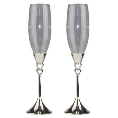 Shiny Silver Plated Zinc Alloy Heart Shape Champagne Glass