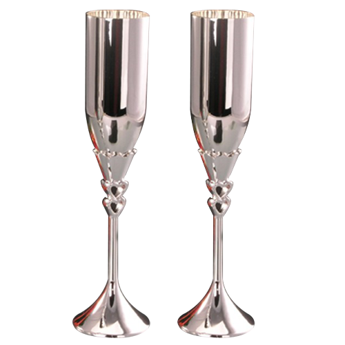 Lovely Double Heart Metal Wedding Champagne Flutes