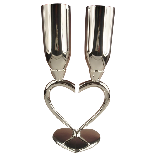 Heart Shape Champagne Flutes as Wedding Souvenir