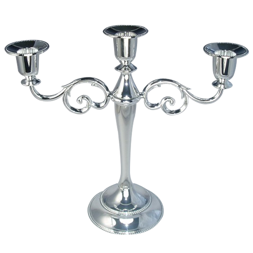 Silver Plated Zinc-Alloy 3 Arms Candle Holder for Home