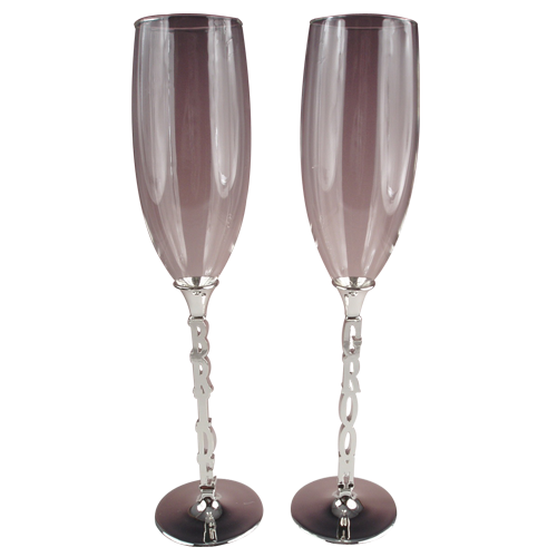 Bride and Groom Tulip-shaped Wedding Champagne Glass