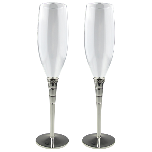 Silver Plating Champagne Flute with Crystals Decoration