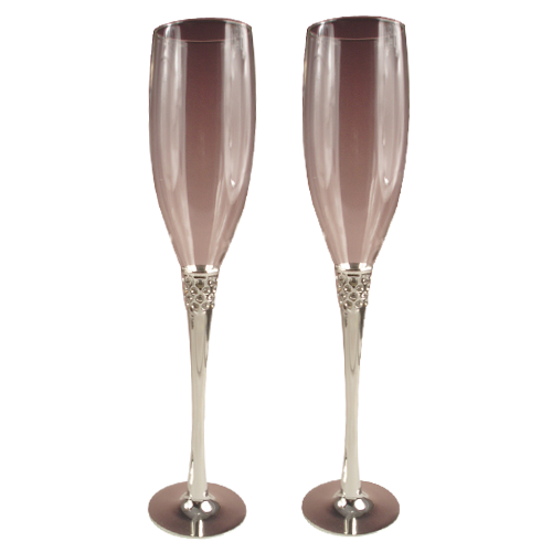 Tulip-Shaped Champagne Wine Glass With Metal Stem
