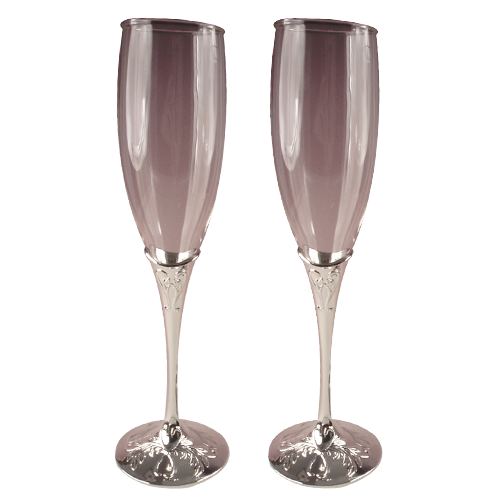 True Love Toasting Flutes Metal Champagne Glass