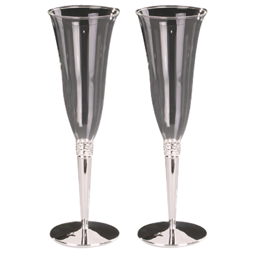 Jewel Décor Silver Plated Champagne Flute Glass