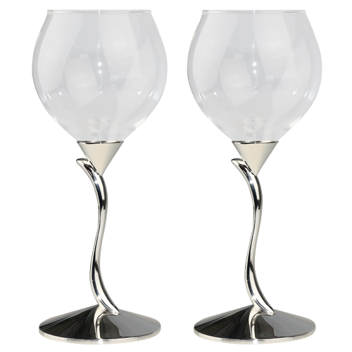 Special Line Shaped Red Wine Glass in Silver