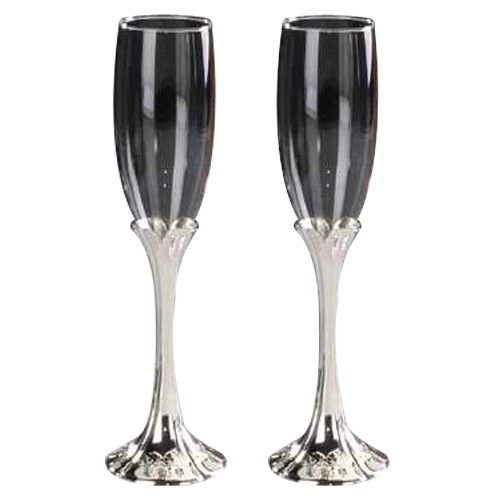 Tulip-shaped Champagne Glass with Metal Stem