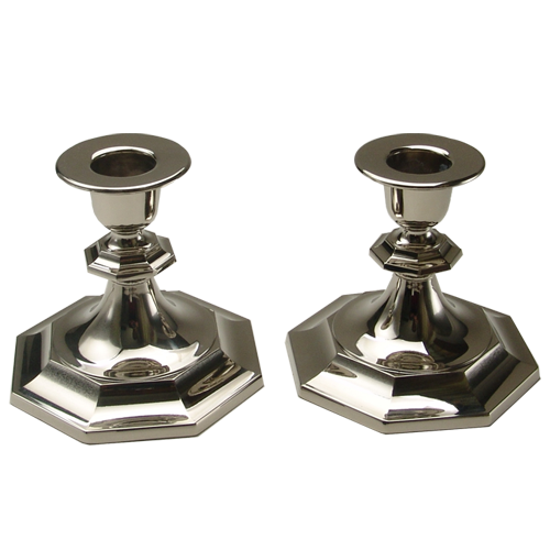 Hexagonal Base Silver Candlestick for Table Decoration