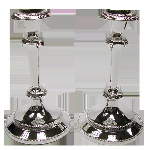 Shiny Silver Filigree Metal Candlestick Holder Set