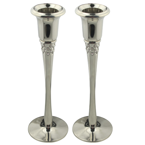 Decorated Crystal Pillar Candle Holder Set Of 2 Wholesale