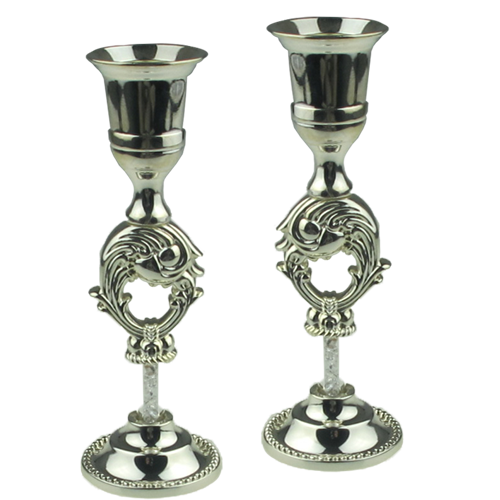 Exquisite Auspicious Fish Design Silver Pillar Candle Holders