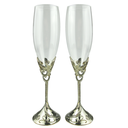 Complex Champagne Glass Design with Double Heart