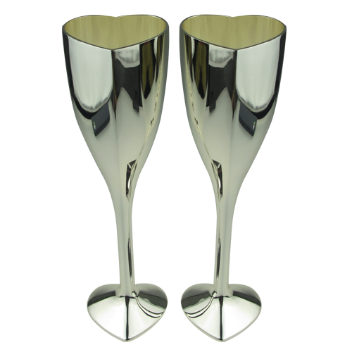 Unique Luxury Heart Shaped Champagne Glass with Silver Plated
