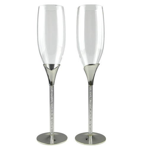 Silver Plated Decorated Crystal Champagne Glasses