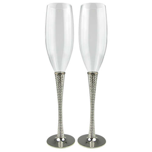 Elegant Silver Plate Champagne Flute with Texture Stem