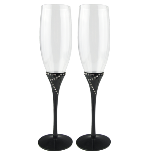 Black Oil Plating Champagne Flute with Crystals Decoration