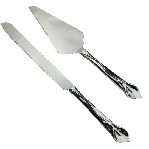 Calla Lily Knife and Cake Serving Set in Silver Plating