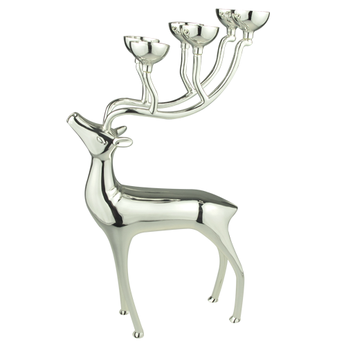 Decorative Christmas Item Silver Reindeer Candle Holder
