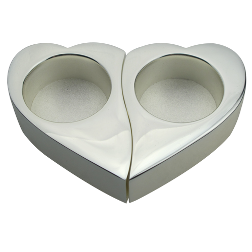 Unique Hearts Design Silver Plated Tealight Holder Set