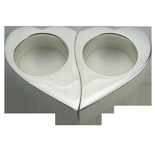 Unique Hearts Design Silver Plated Tealight Holder Set