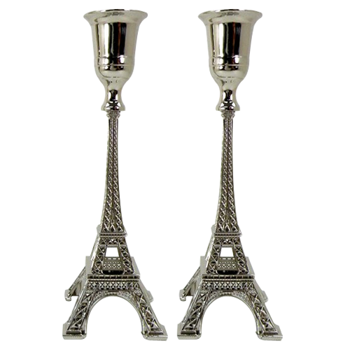 Eiffel Tower Candle Holder Sets with Silver Plating