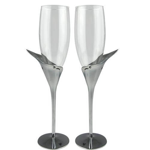 Silver Plated Champagne Glasses with Lily Shaped Stem