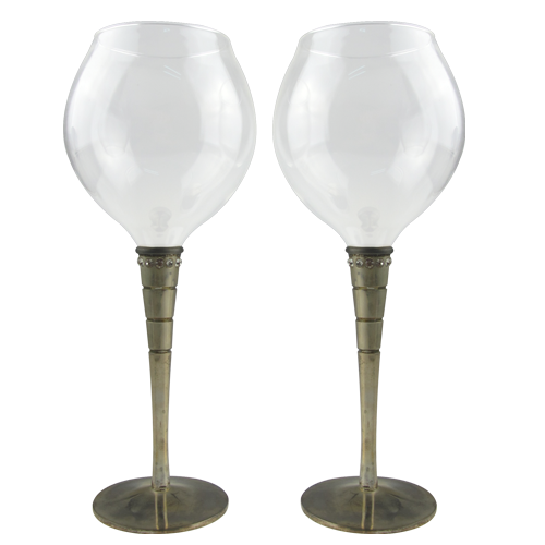 Silver Plated Red Wine Glass Set of 2 Wholesale