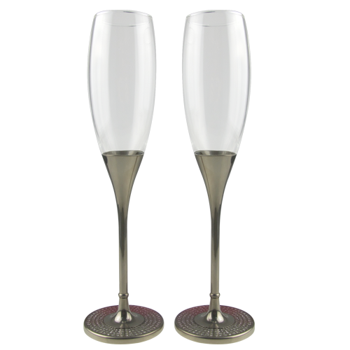 Colorful Base Champagne Flute with Silver Plated