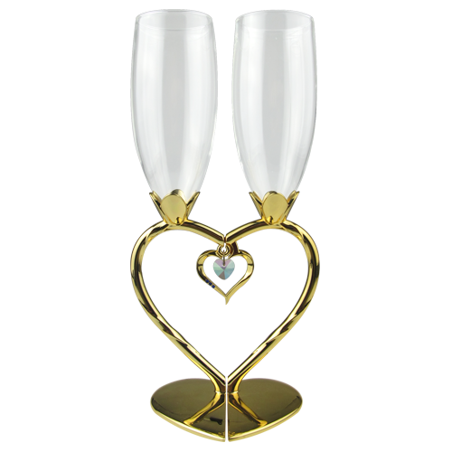 Luxury Heart Shaped Golden Plating Wine Glasses