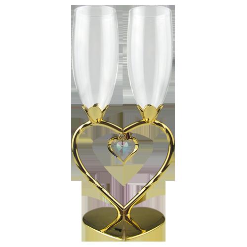 Luxury Heart Shaped Golden Plating Wine Glasses