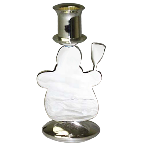 Polished Cute Snowman Candle Holder with Silver Plated