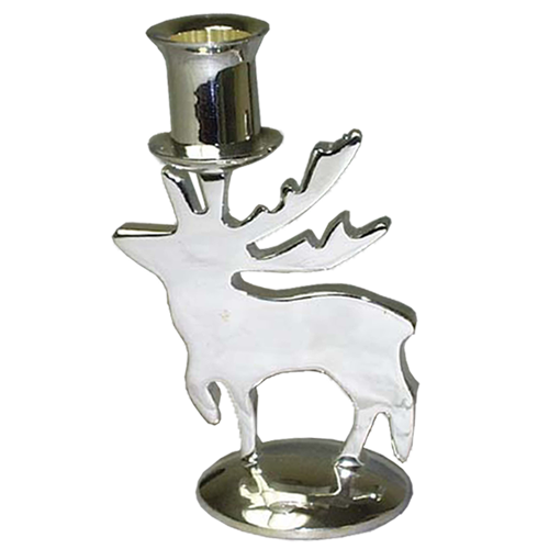 Christmas Moose Design Candle Holder in Silver
