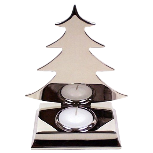 Silver Plated Christmas Fir Tree Tealight Holder